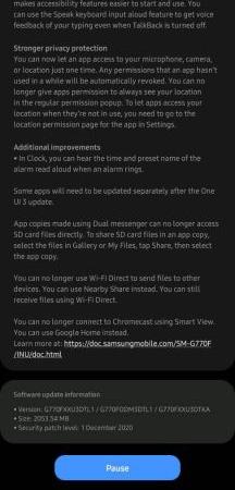 Samsung Galaxy S10 Lite Android 11 Update