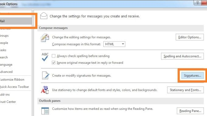 Outlook 2016 Signature Button Not Working in Windows 10